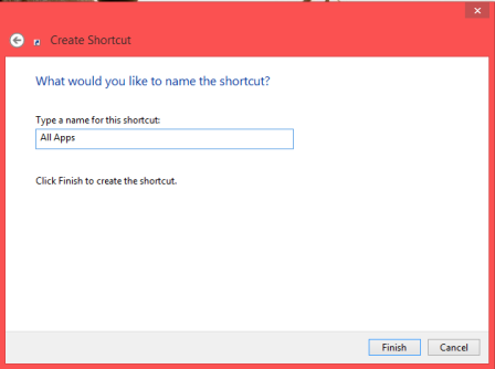 write name of all app shortcut of windows 8
